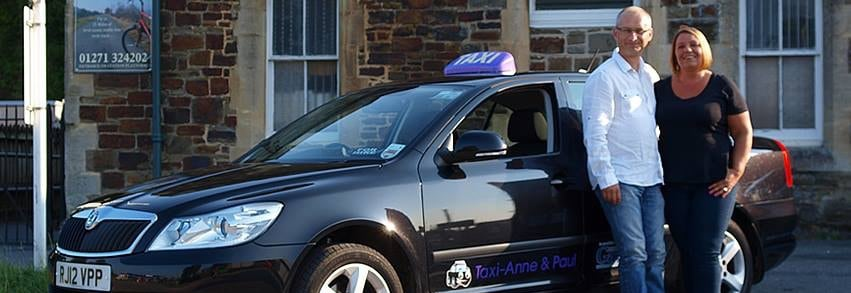 At train and bus stations we are easy to spot with our purple taxi roof-sign and clearly marked car