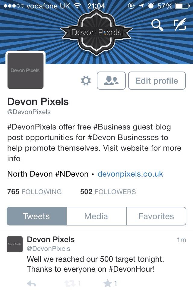 Devon Pixels reaches 500 followers on Twitter