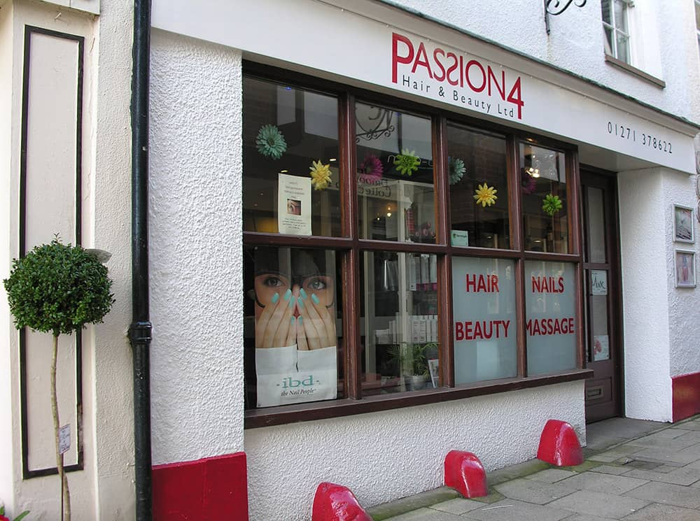 passion 4 hair and beauty shop front