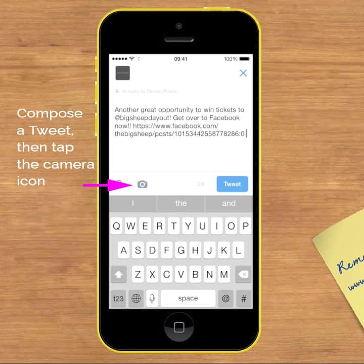 Write Tweet & press camera icon