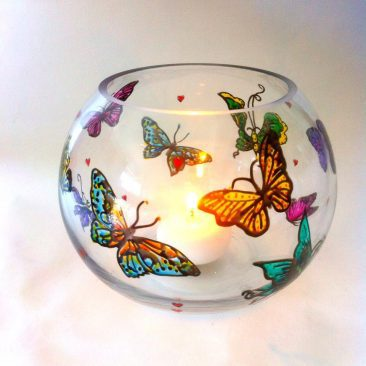 hand painted tea light holder