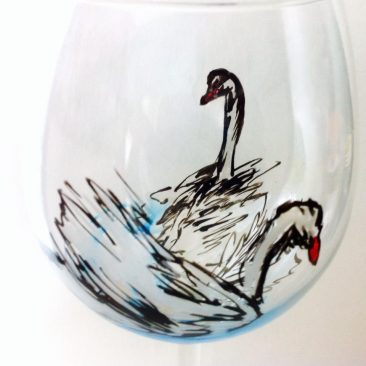 hand painted glass birds
