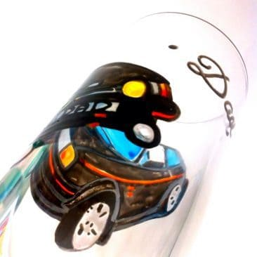 hand painted glass car
