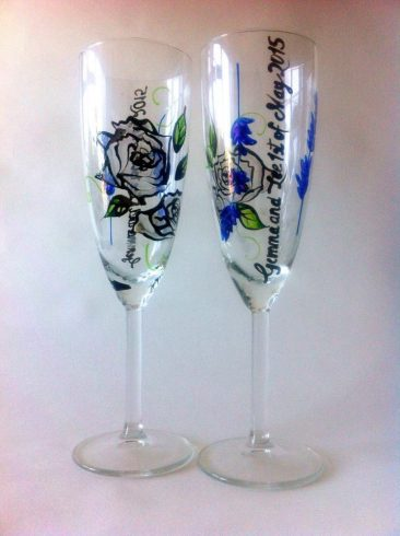 hand painted glass flowers