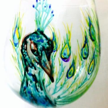 hand painted glass peacock