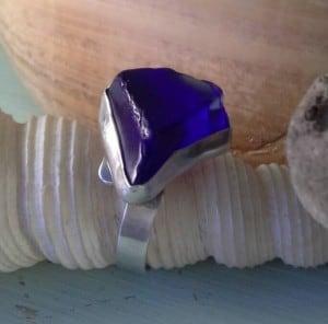 Rare Cobalt Blue Sea Glass Ring